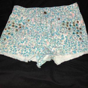 Pastel leopard shorts with rhinestones